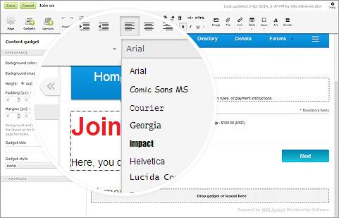 Membership website software editor