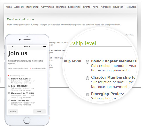 Embed membership functions on your website
