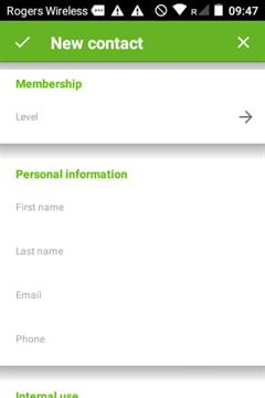 Add new contact - admin app