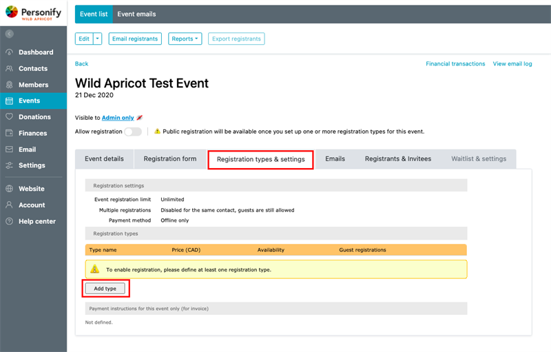 Event registration form -  Add registration type