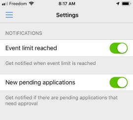 Admin app - notification setting
