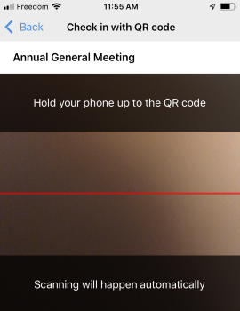 Admin app - scan QR code