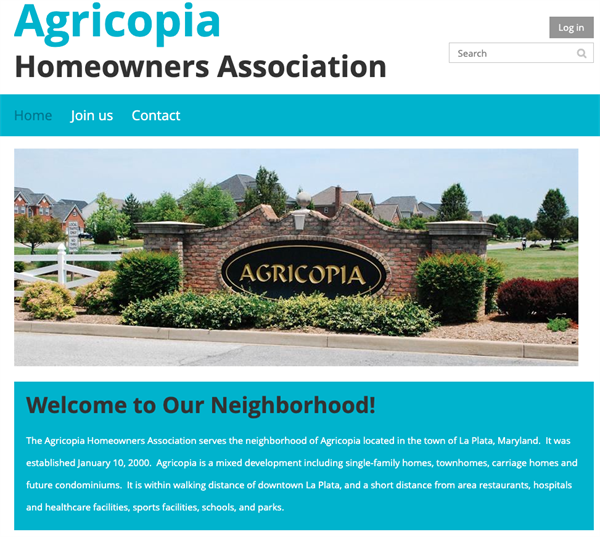 Agricopia Homeowners Association website