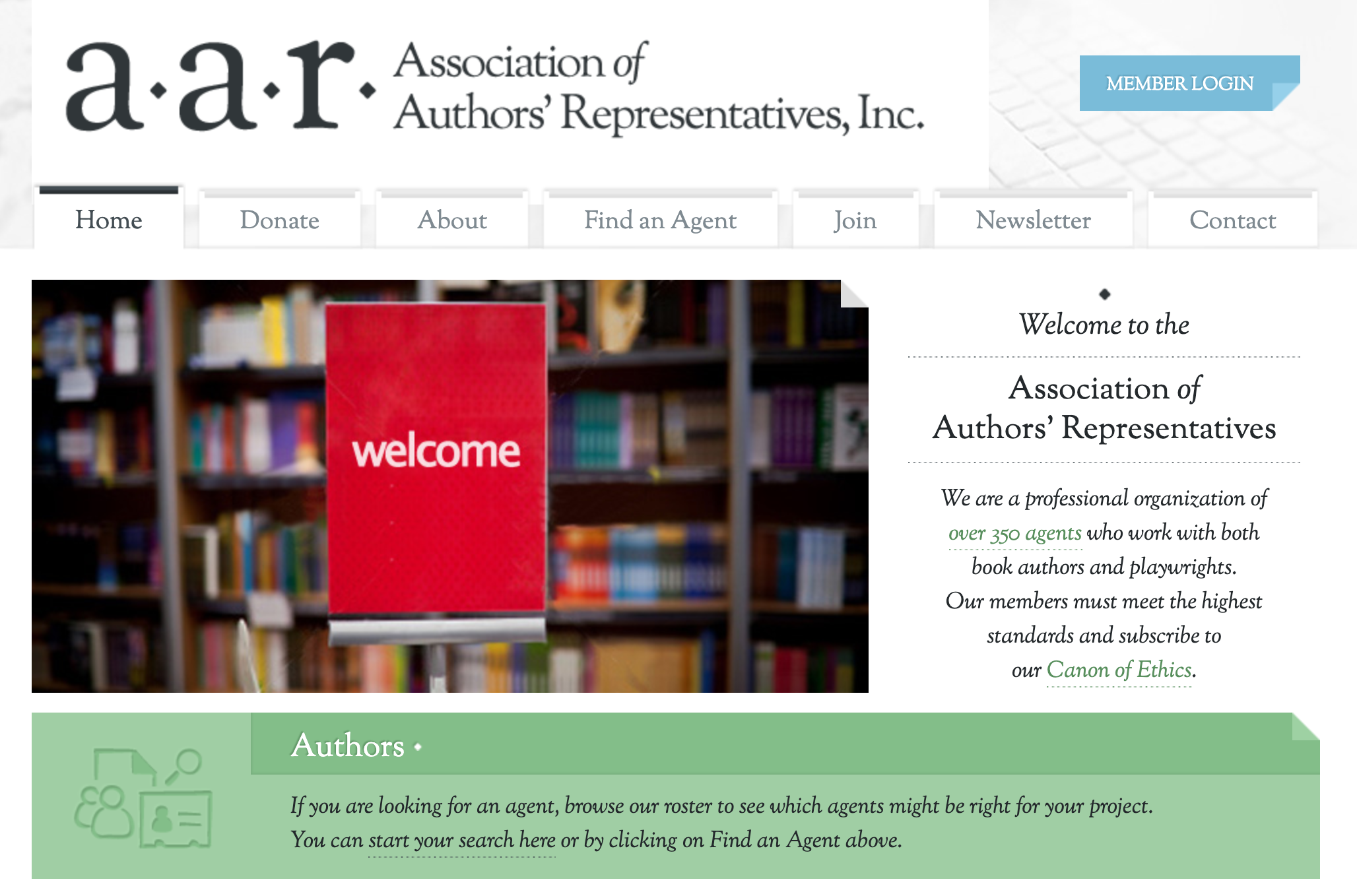 association of authors representatives website