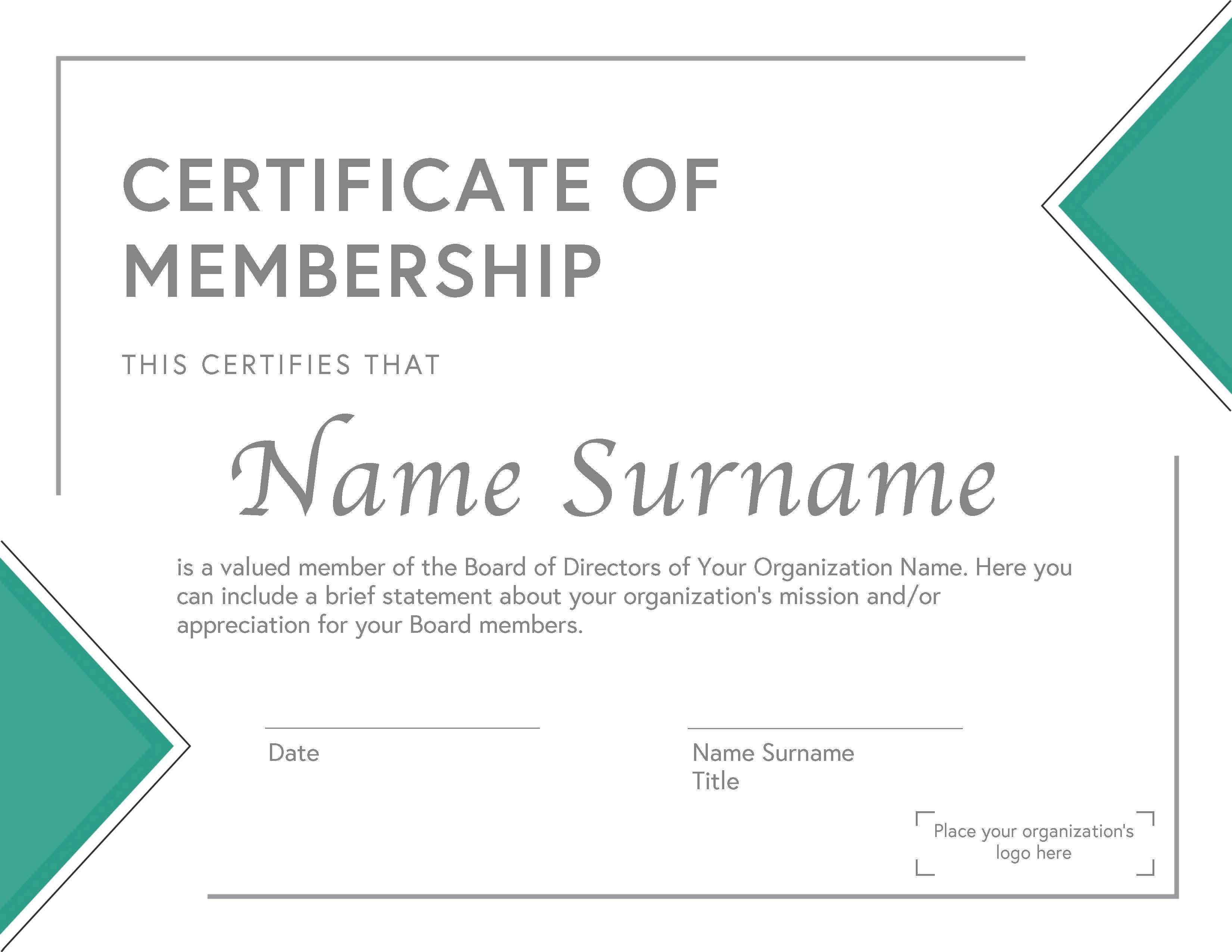 Board Membership Certificate
