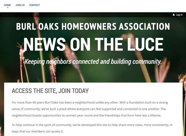 Burl Oaks Homeowners Association website