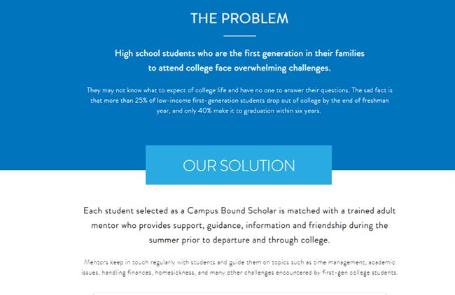 Campus Bound Scholars best nonprofit website