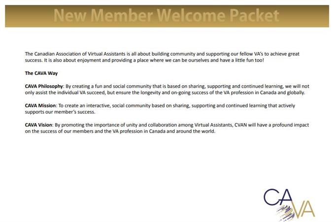 member welcome packet