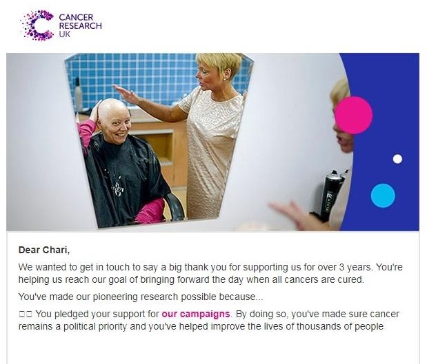 cancer research uk thank you email