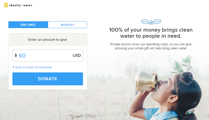Charity Water Nonprofit Landing Page