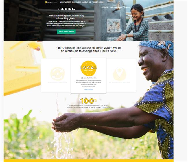 Charity Water best nonprofit website