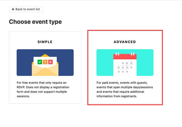 Event registration form - Choose advanced event