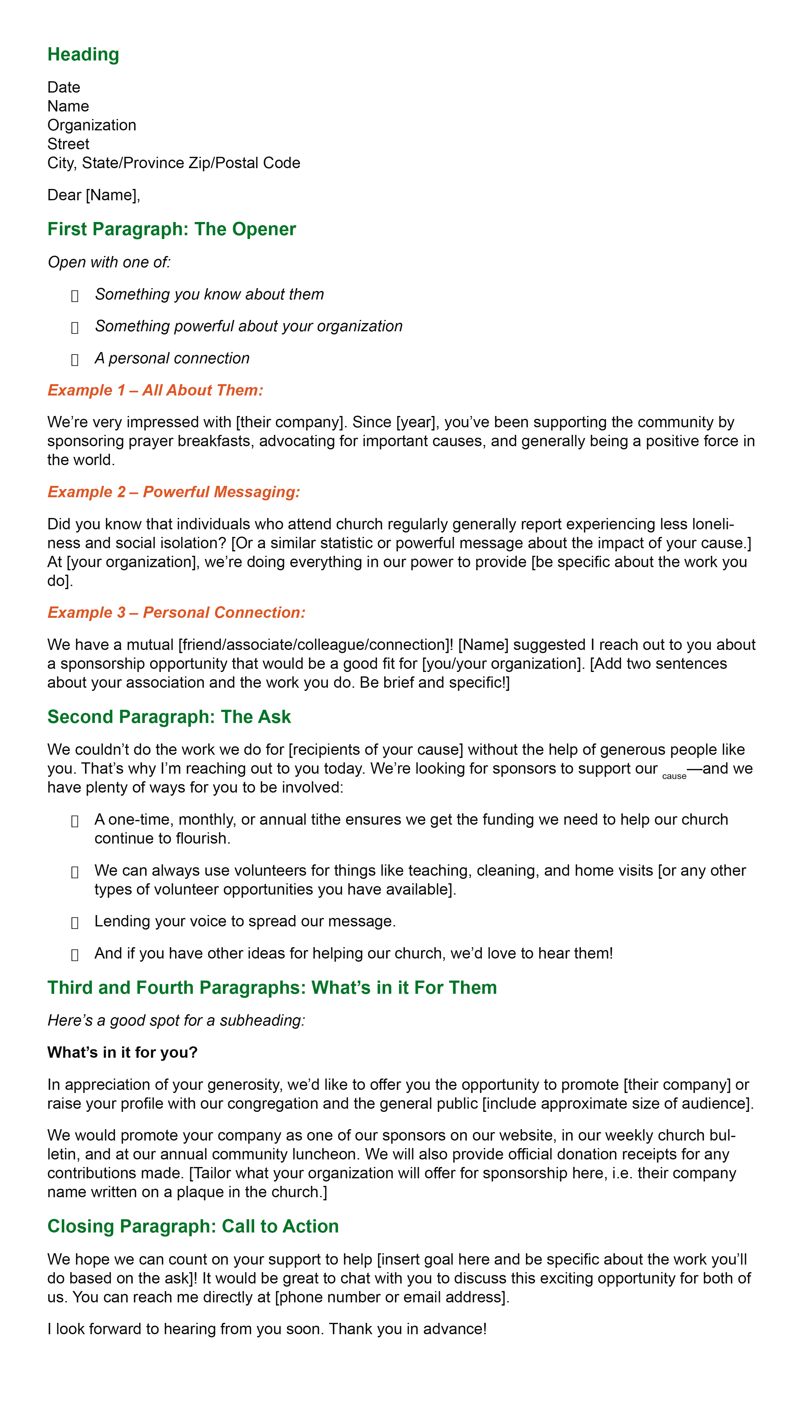 Churches Sponsorship Letter template