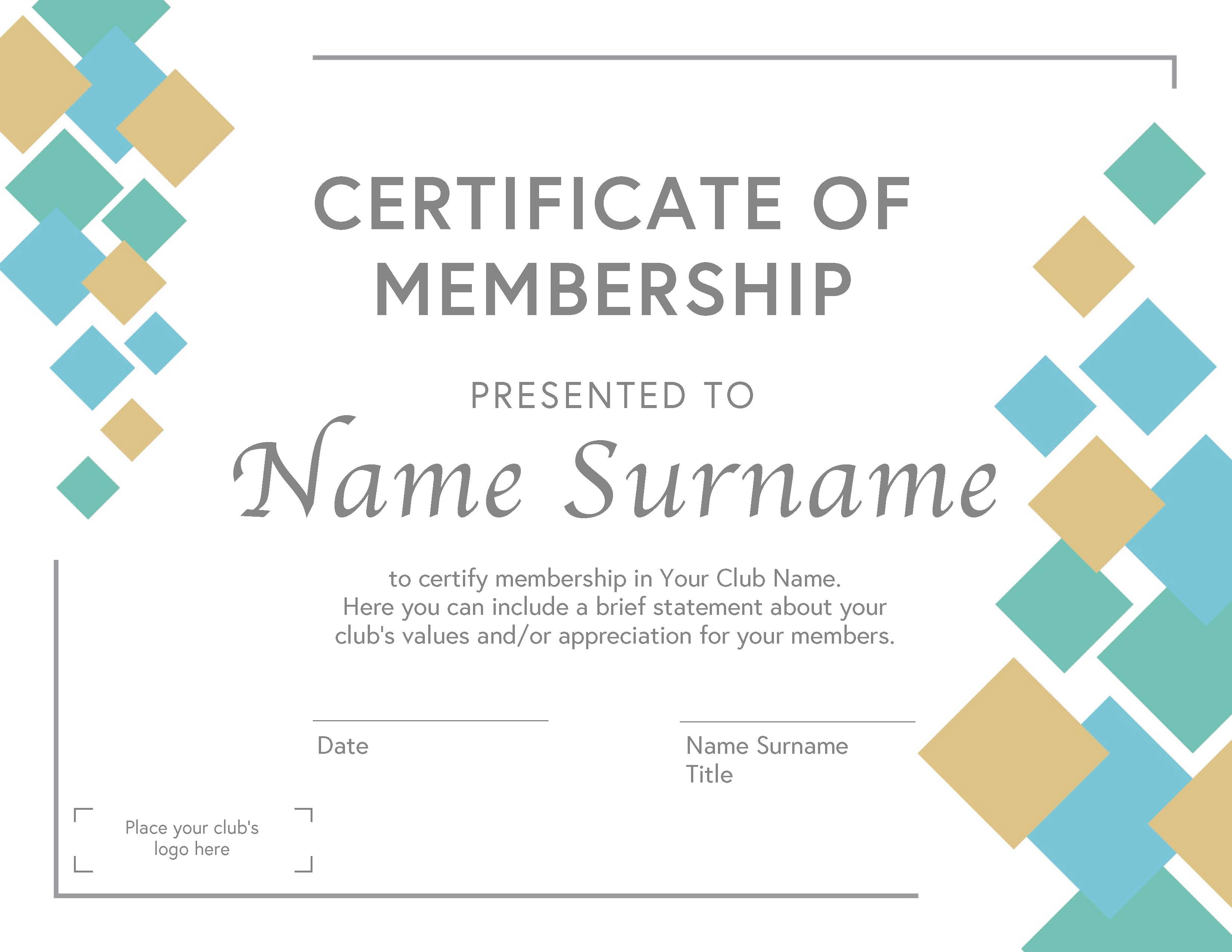 Club Membership Certificate