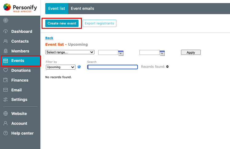 Event registration form - Create new event