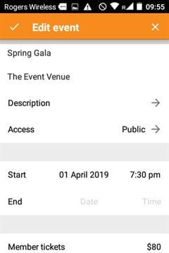 Edit event screen - admin app