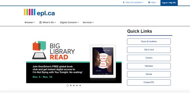 Edmonton Public Library best nonprofit website