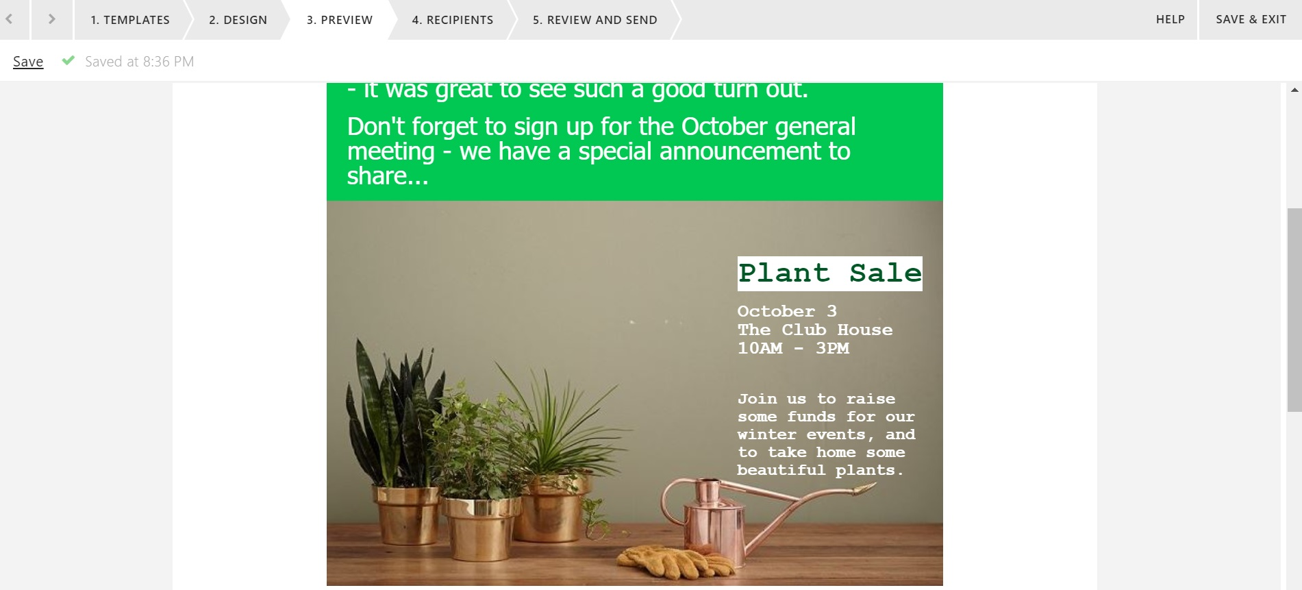 Email editor update example - plant sale background