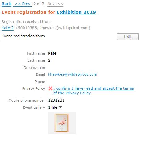 Event registration form attachments - admin view
