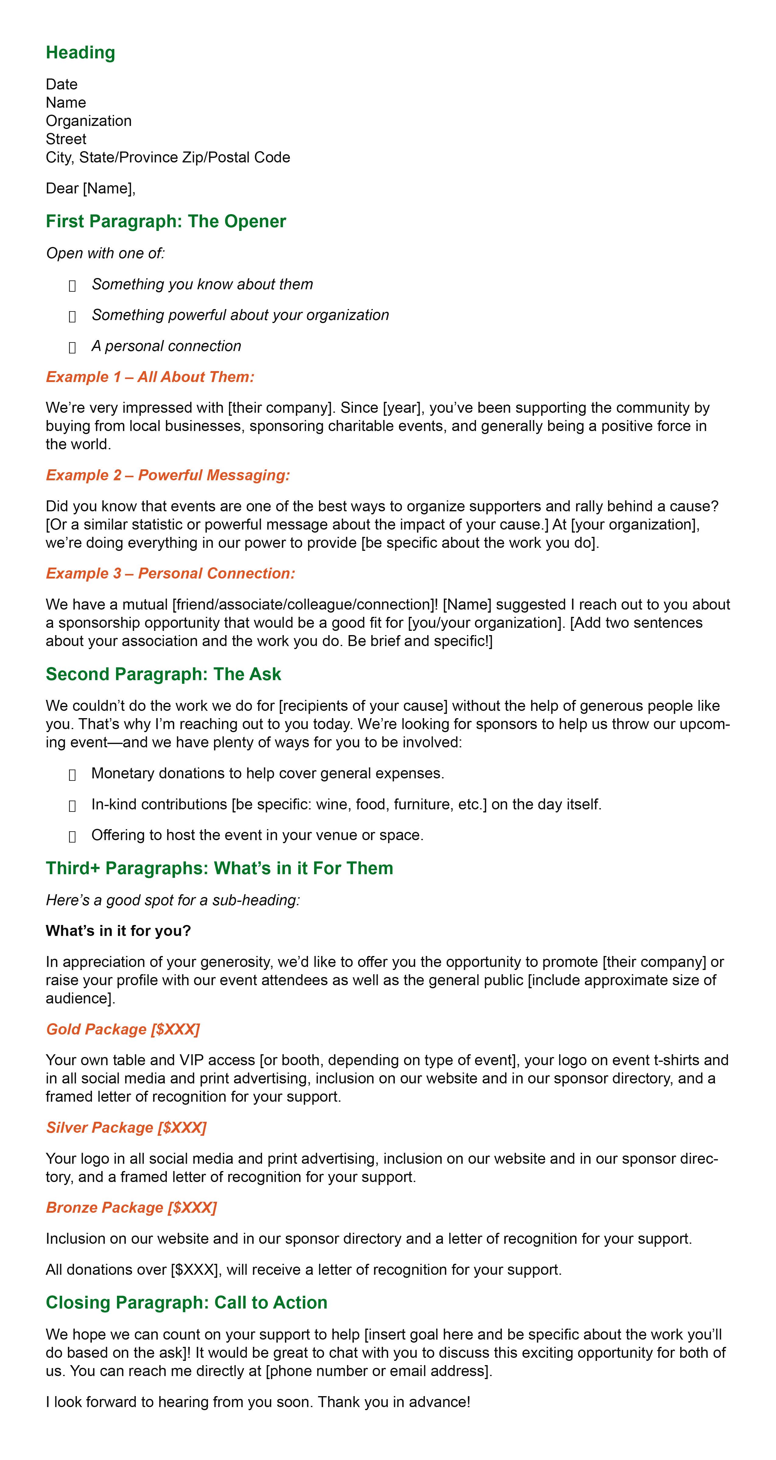 Event Sponsorship Letter template