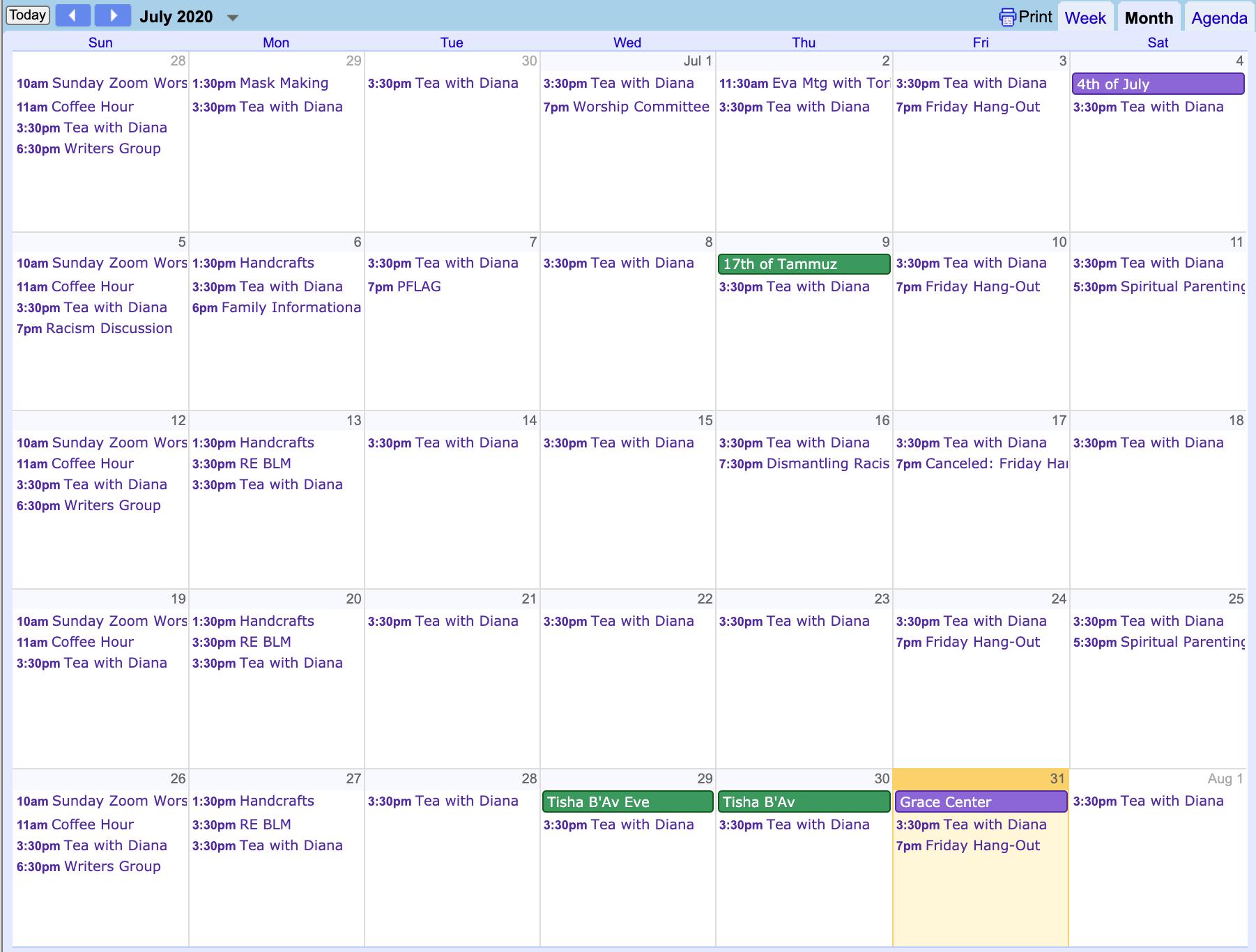First Universalist Church of Essex event calendar