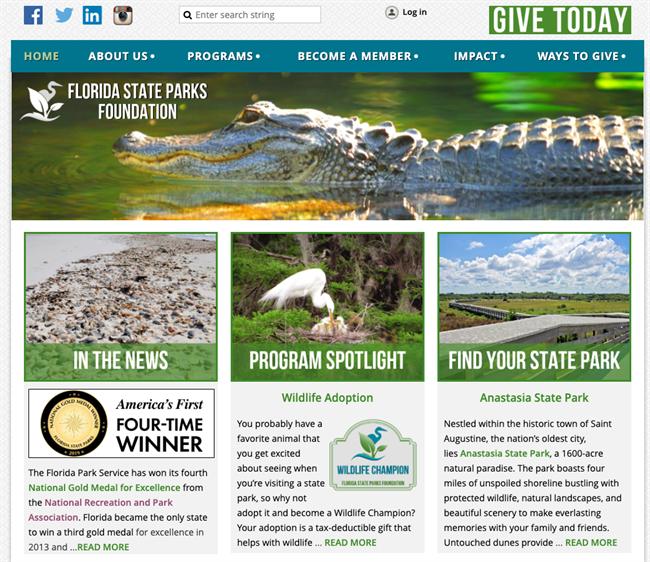 Florida State Parks Foundation best nonprofit website