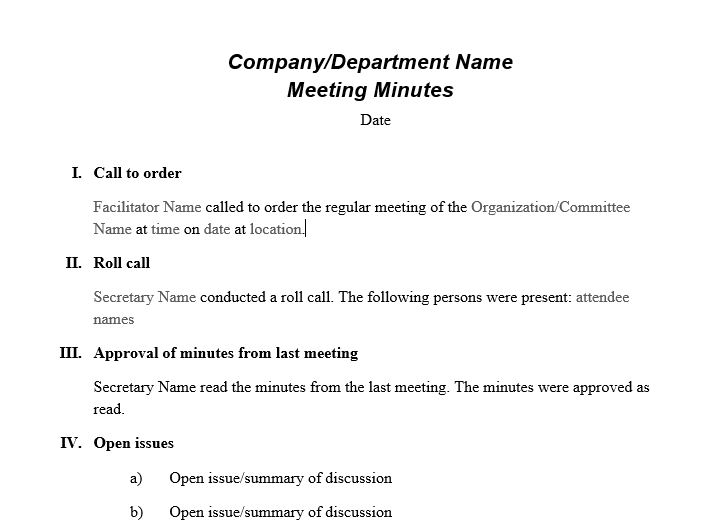 meeting minute template