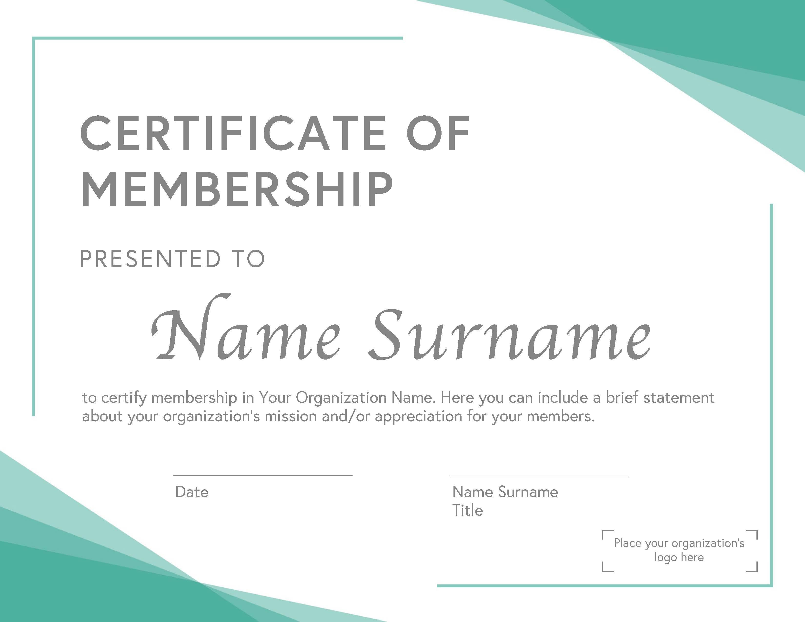 General Membership Certificate A