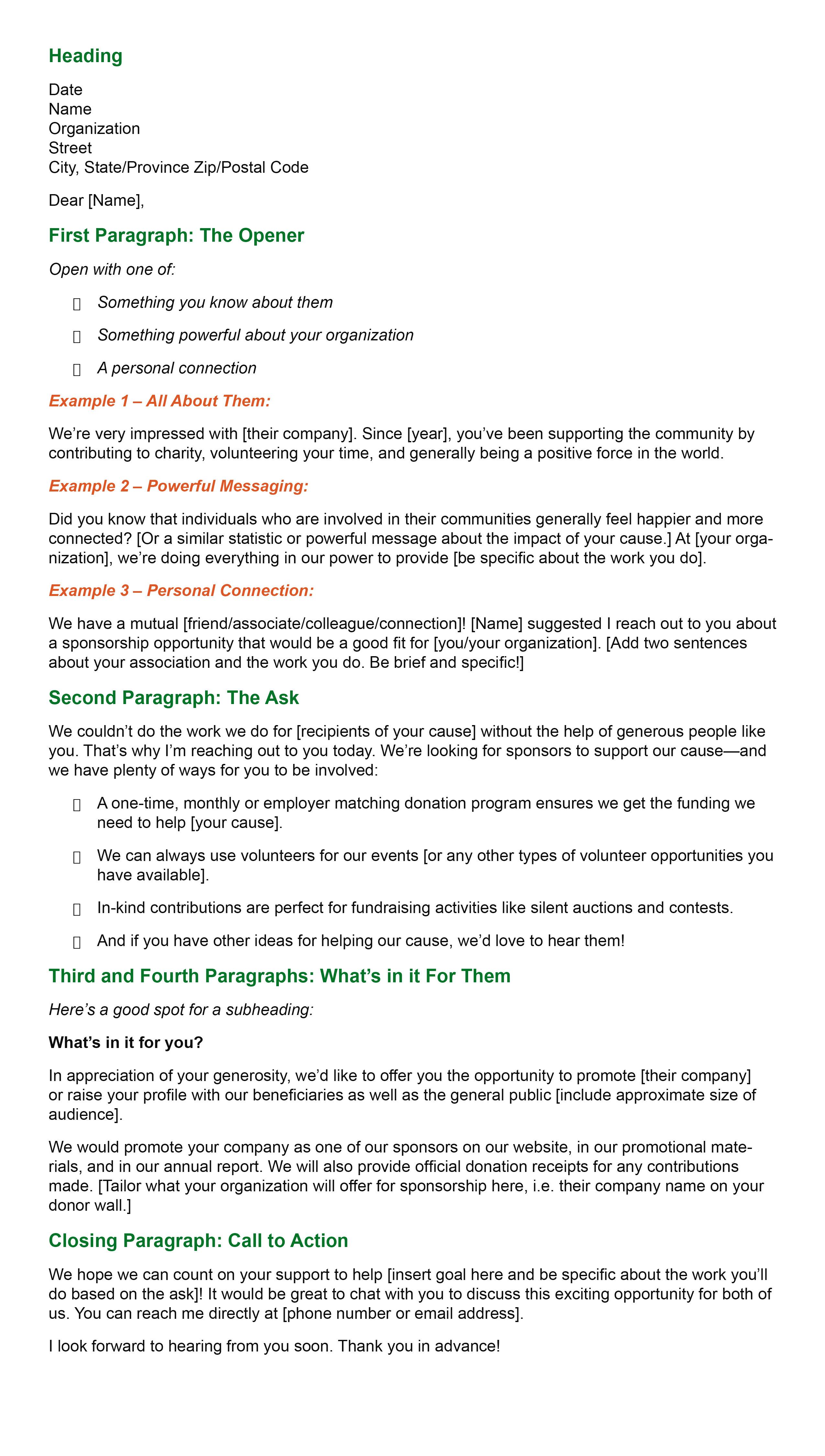 General Sponsorship Letter Template