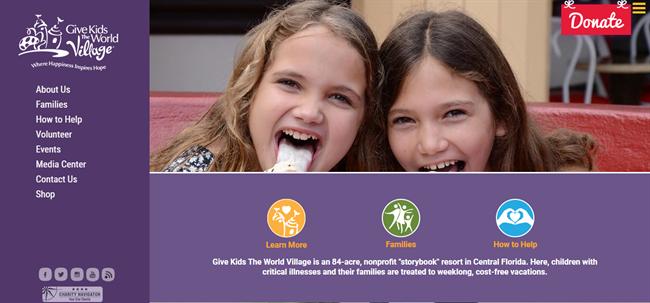 Give Kids the World Village best nonprofit website