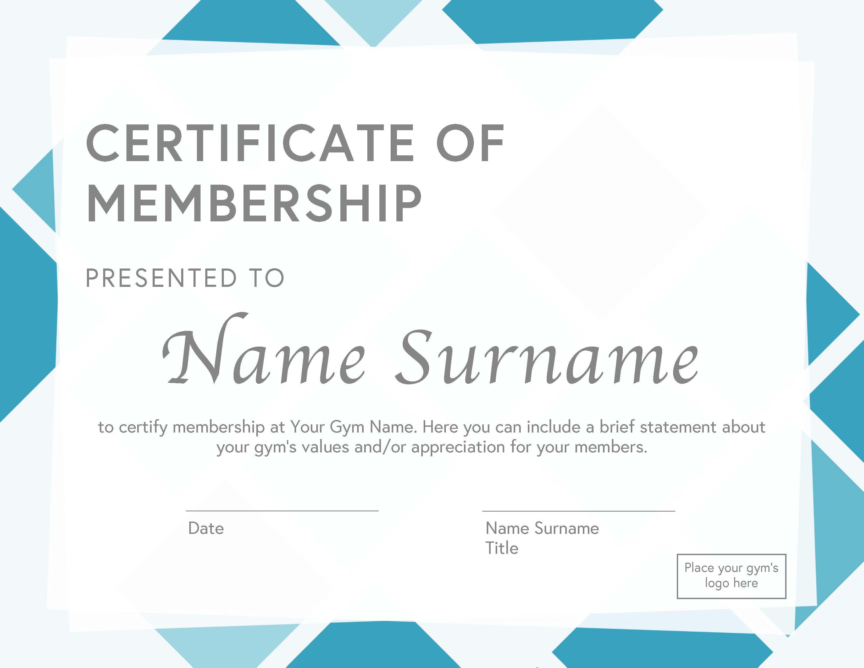 Gym Membership Certificate