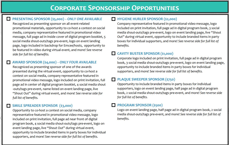healthlink dental clinic virtual sponsorship levels