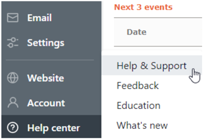 Help and support option new nav