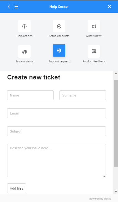 Help center new navigation send ticket