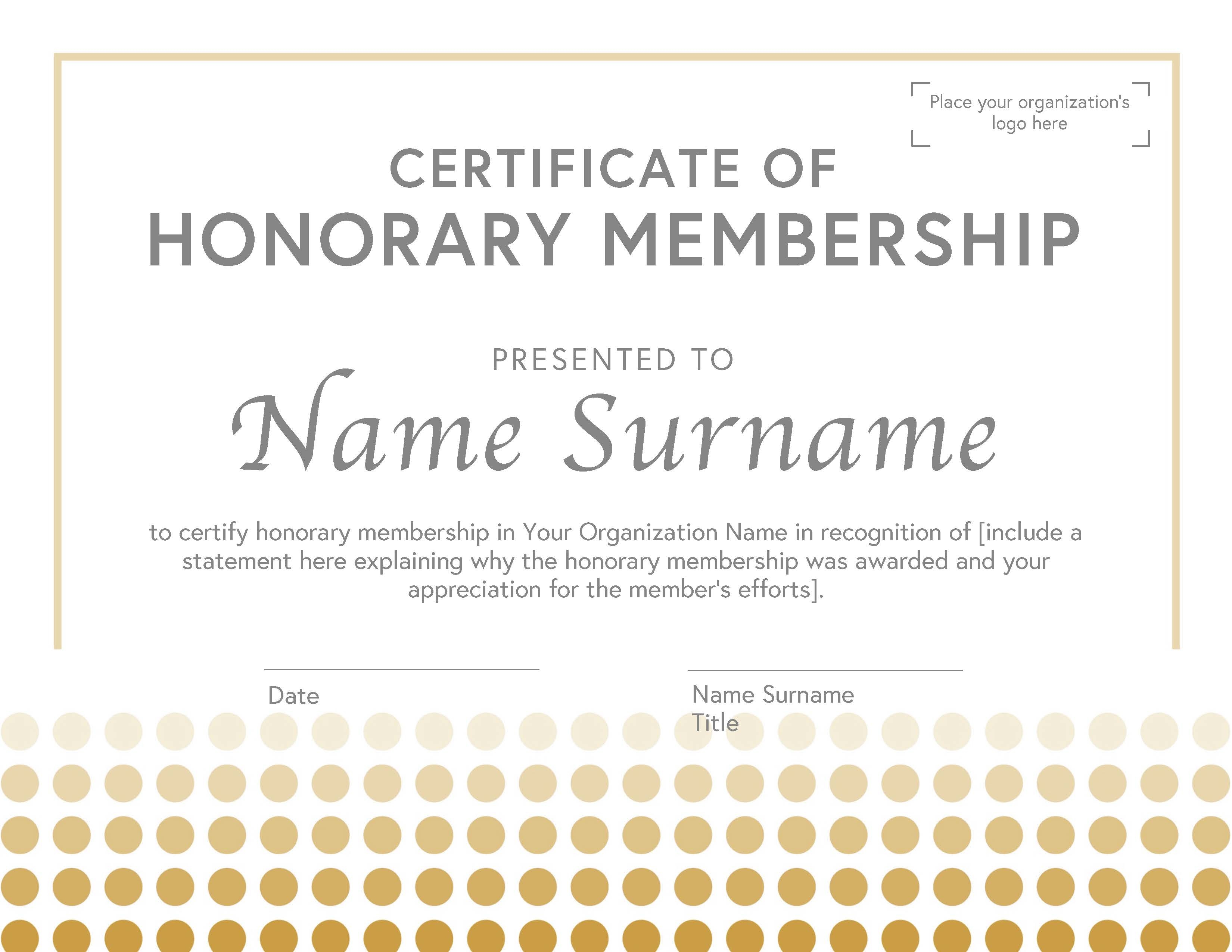 Honorary Membership Certificate