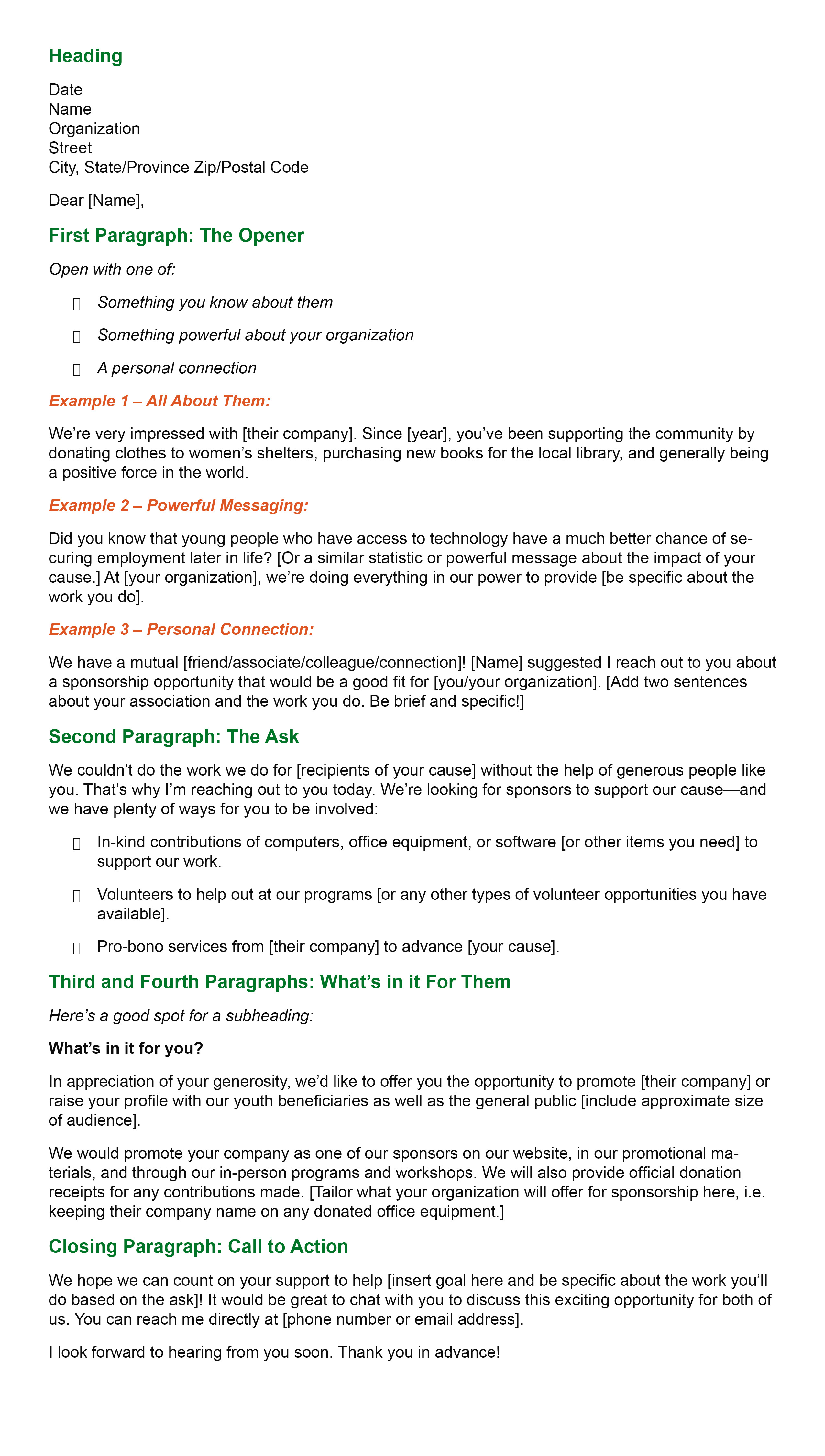 In-Kind Donations Sponsorship Letter template
