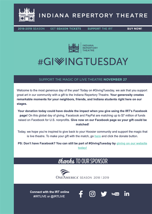 Indiana Repertory Theater giving tuesday email