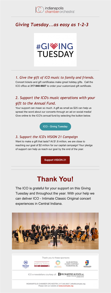 Indianapolis Chamber Orchestra giving tuesday email