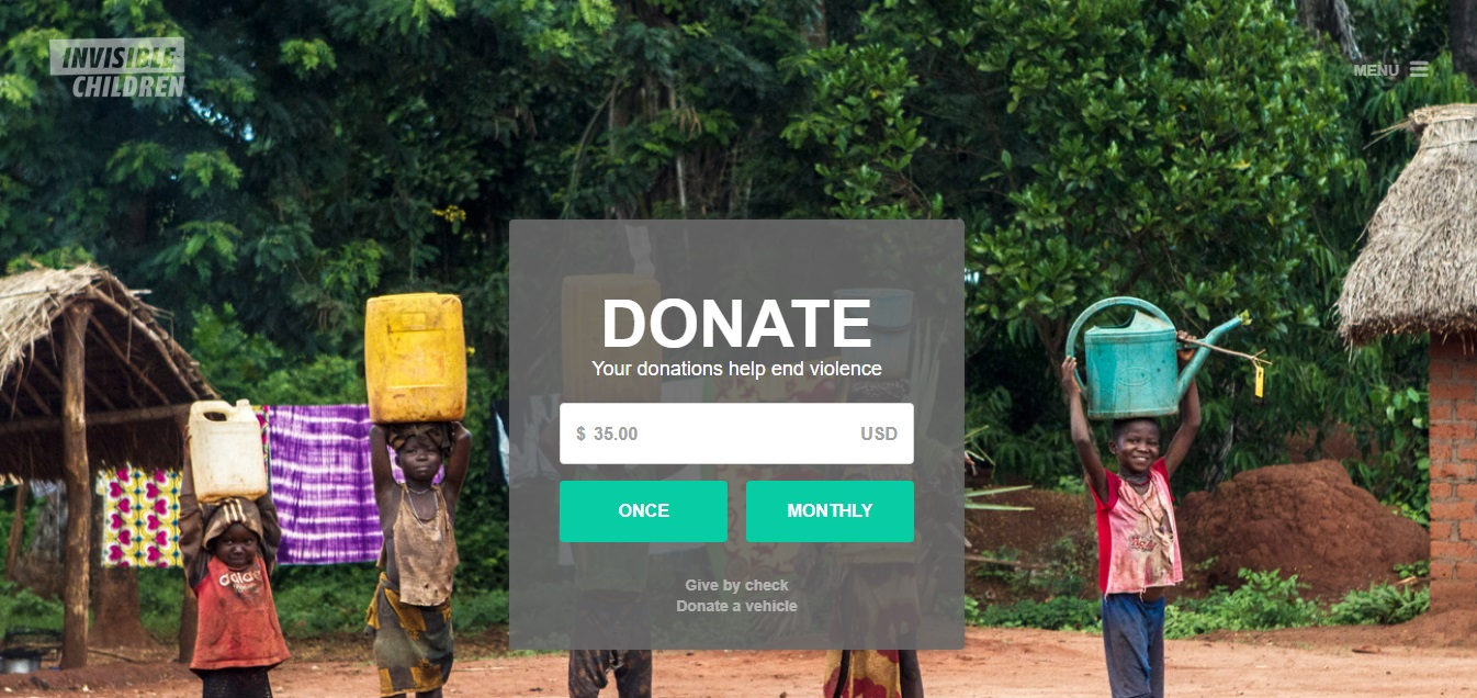 Invisible Children Donation Nonprofit Landing Page