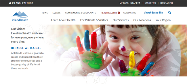 Island Health best nonprofit website