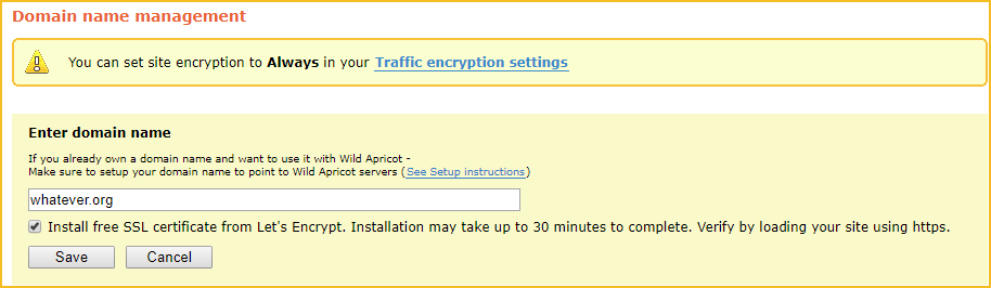 Lets encrypt self service domain settings