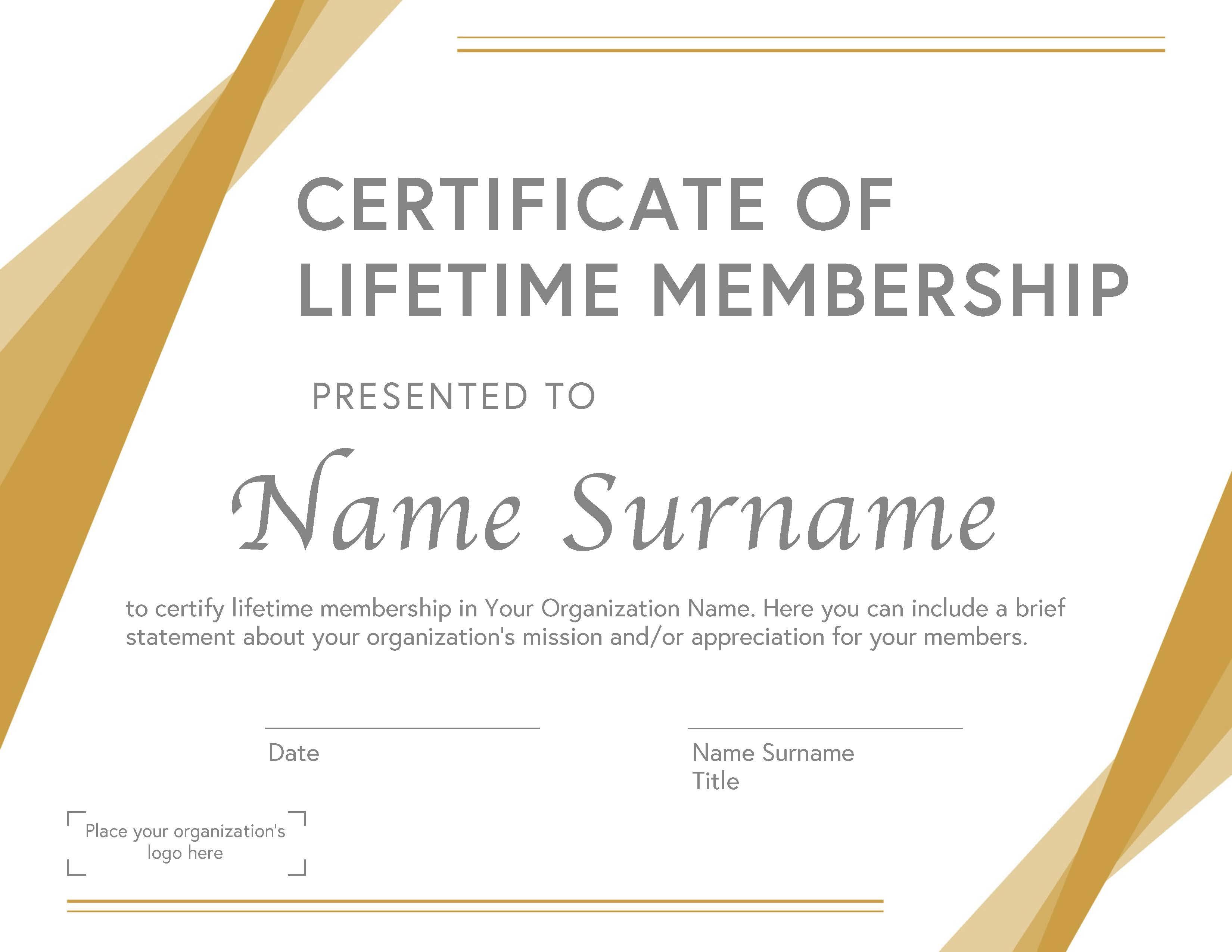 Lifetime Membership Certificate