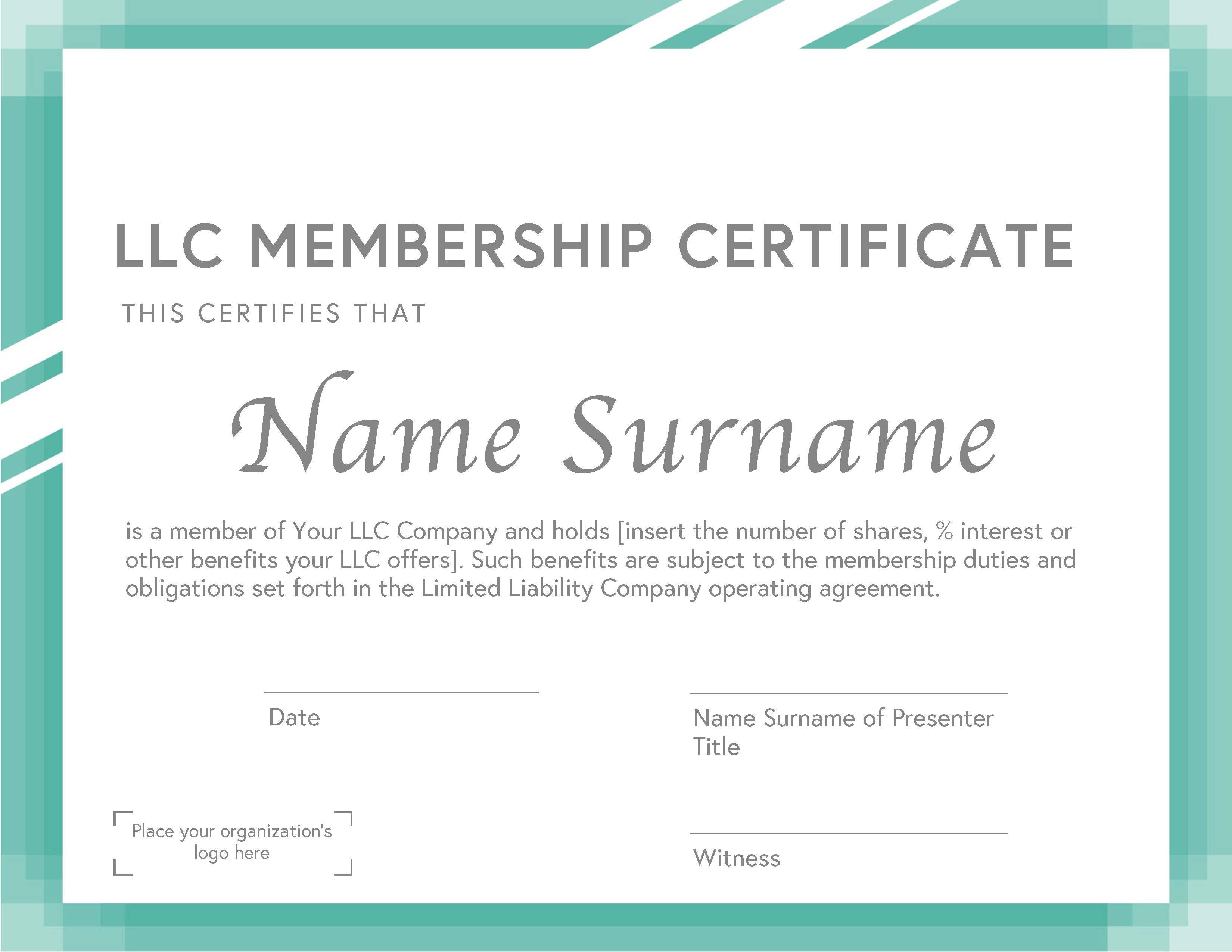 LLC Membership Certificate