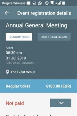 Members app - event registration