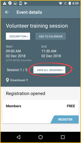 Member app - multiple sessions