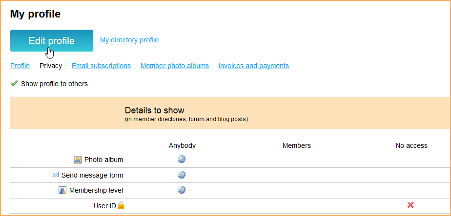 Member privacy settings