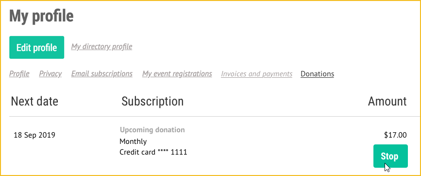 Member profile stop recurring donation