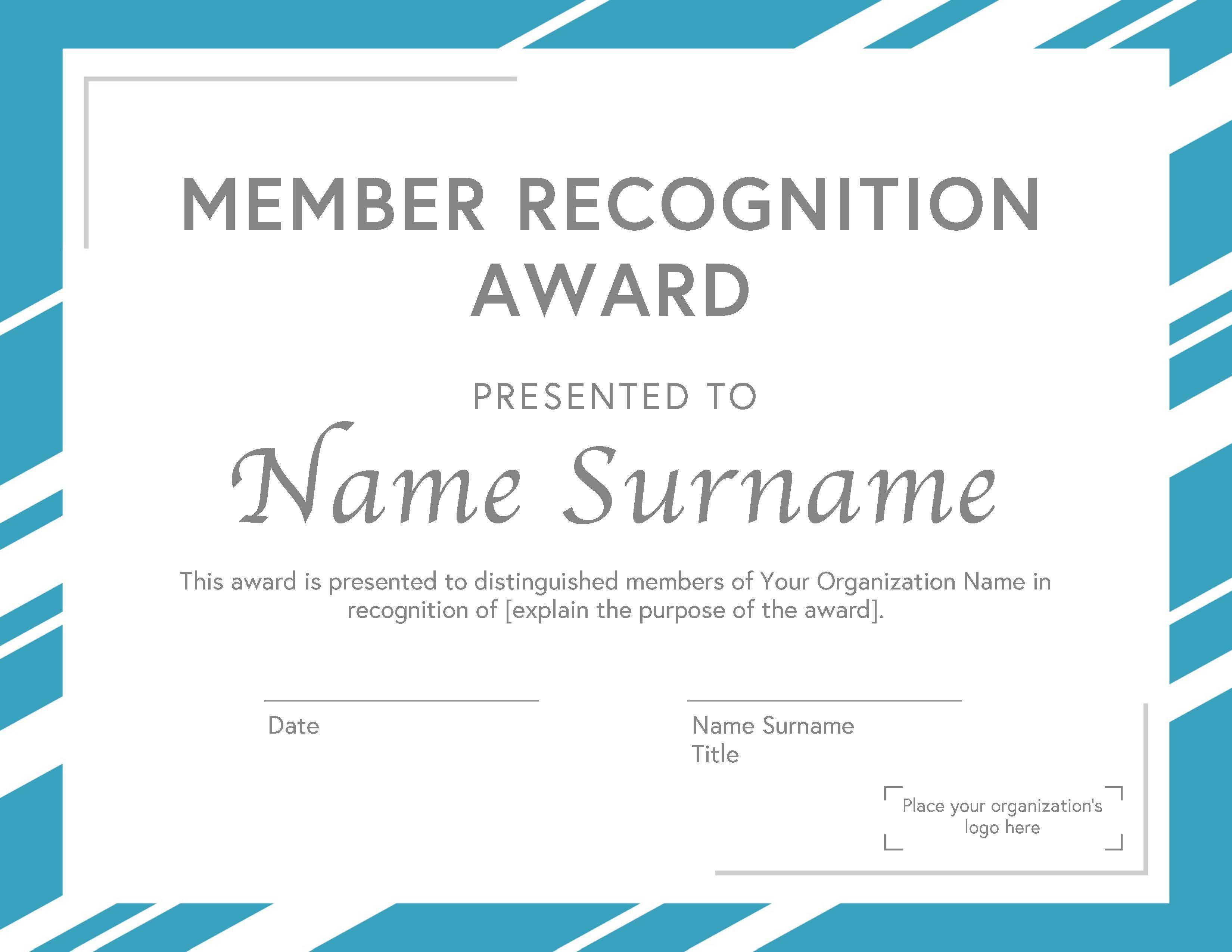 Membership Award Certificate