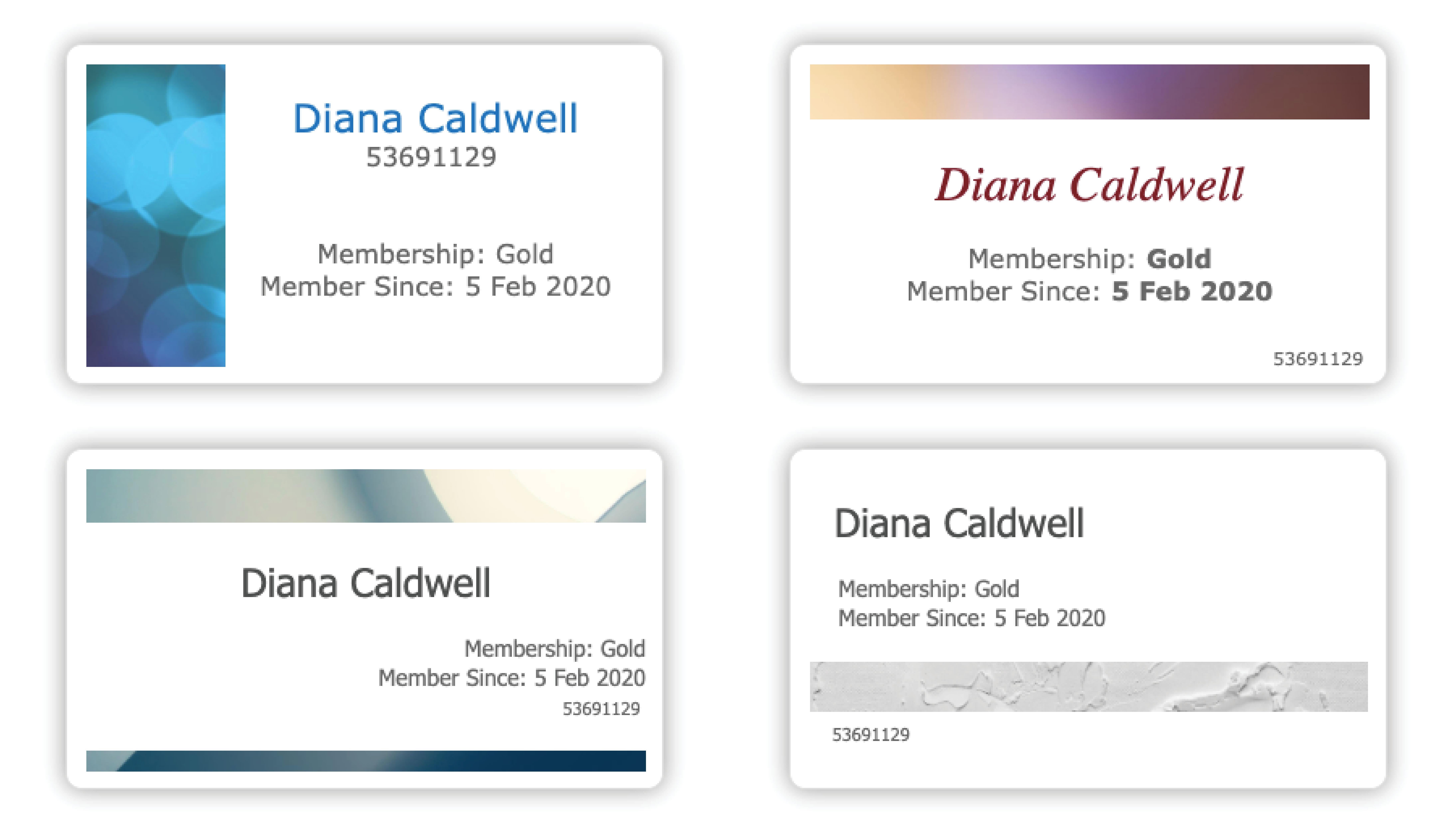 membership card examples