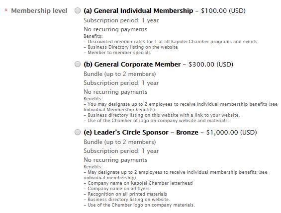 Membership Levels Member Website
